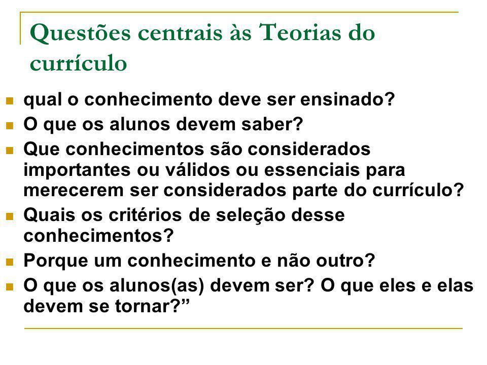 Questões centrais às Teorias do currículo