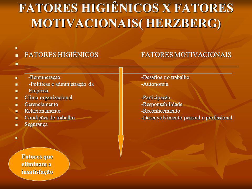 FATORES HIGIÊNICOS X FATORES MOTIVACIONAIS( HERZBERG)