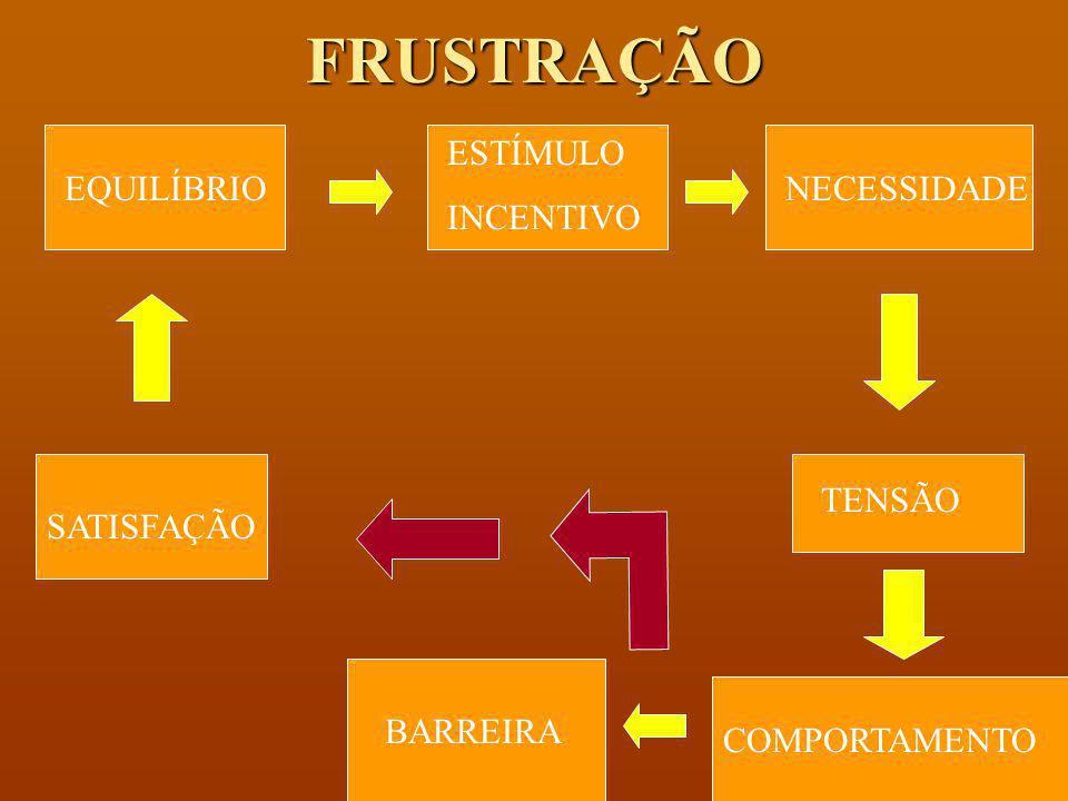 FRUSTRAÇÃO ESTÍMULO INCENTIVO EQUILÍBRIO NECESSIDADE TENSÃO SATISFAÇÃO