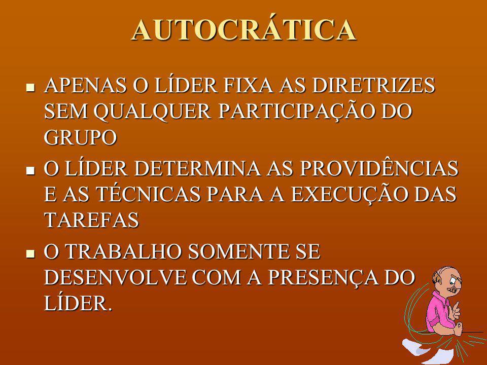 AUTOCRÁTICA APENAS O LÍDER FIXA AS DIRETRIZES SEM QUALQUER PARTICIPAÇÃO DO GRUPO.