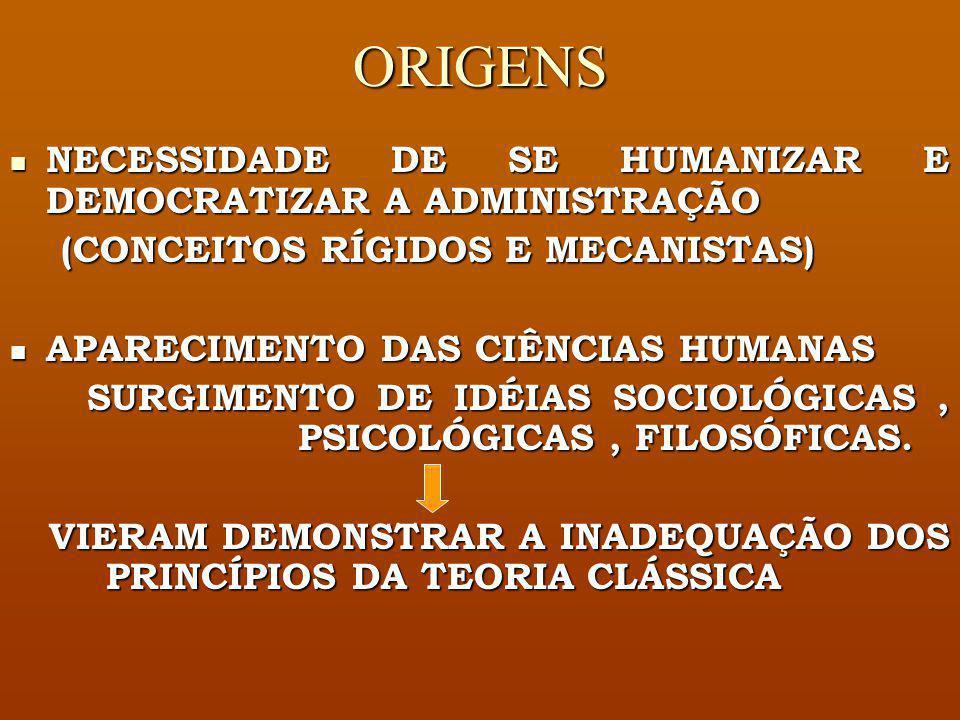 ORIGENS NECESSIDADE DE SE HUMANIZAR E DEMOCRATIZAR A ADMINISTRAÇÃO