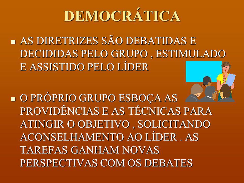 DEMOCRÁTICA AS DIRETRIZES SÃO DEBATIDAS E DECIDIDAS PELO GRUPO , ESTIMULADO E ASSISTIDO PELO LÍDER.