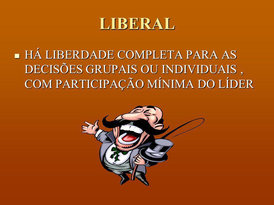 LIBERAL HÁ LIBERDADE COMPLETA PARA AS DECISÕES GRUPAIS OU INDIVIDUAIS , COM PARTICIPAÇÃO MÍNIMA DO LÍDER.