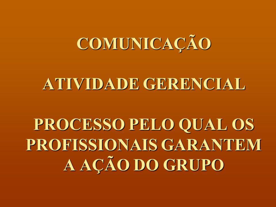 COMUNICAÇÃO ATIVIDADE GERENCIAL PROCESSO PELO QUAL OS PROFISSIONAIS GARANTEM A AÇÃO DO GRUPO