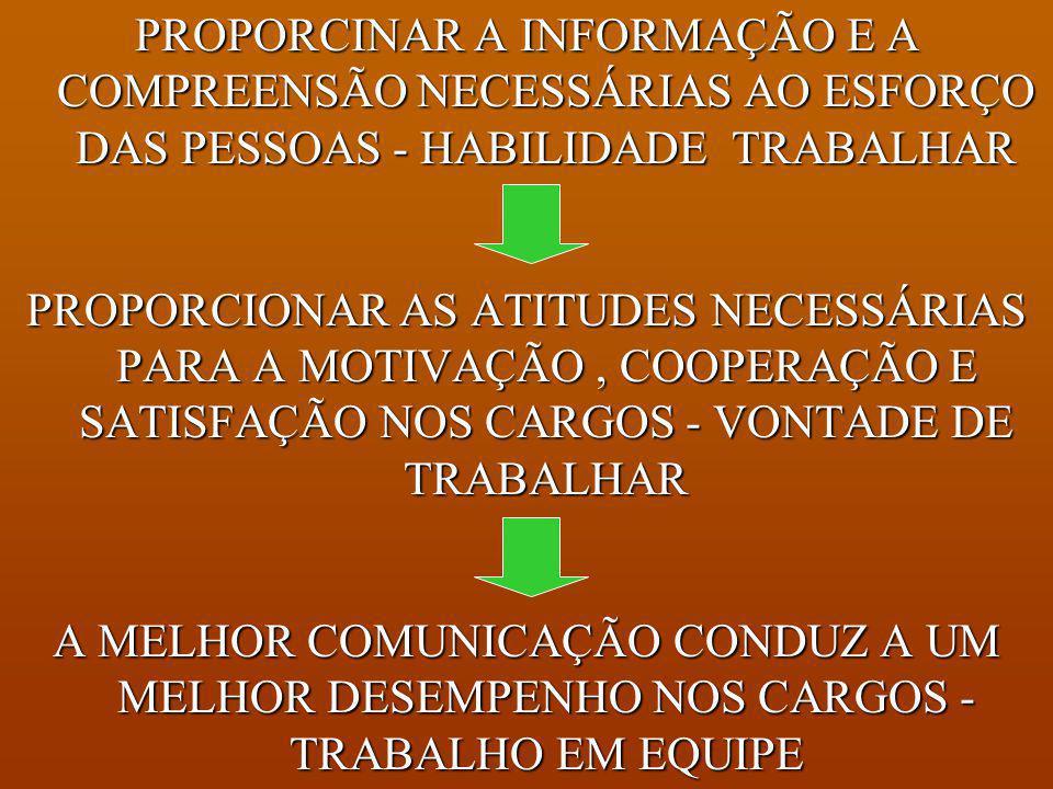 PROPORCINAR A INFORMAÇÃO E A COMPREENSÃO NECESSÁRIAS AO ESFORÇO DAS PESSOAS - HABILIDADE TRABALHAR