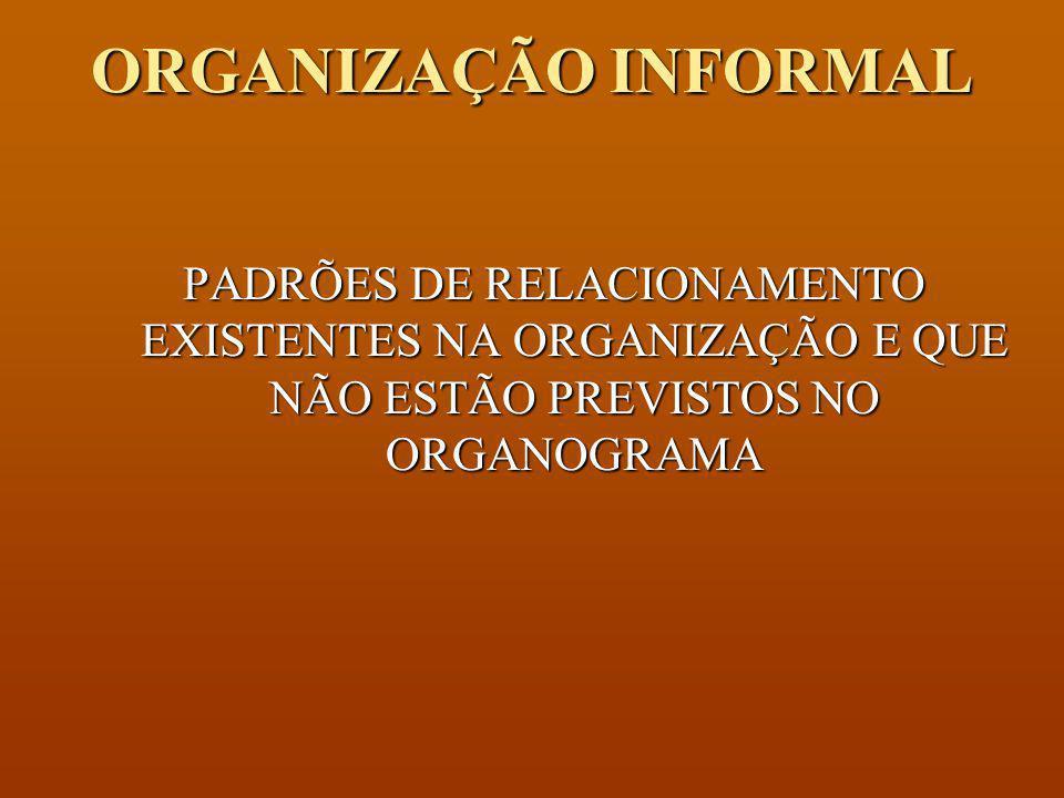 ORGANIZAÇÃO INFORMAL PADRÕES DE RELACIONAMENTO EXISTENTES NA ORGANIZAÇÃO E QUE NÃO ESTÃO PREVISTOS NO ORGANOGRAMA.