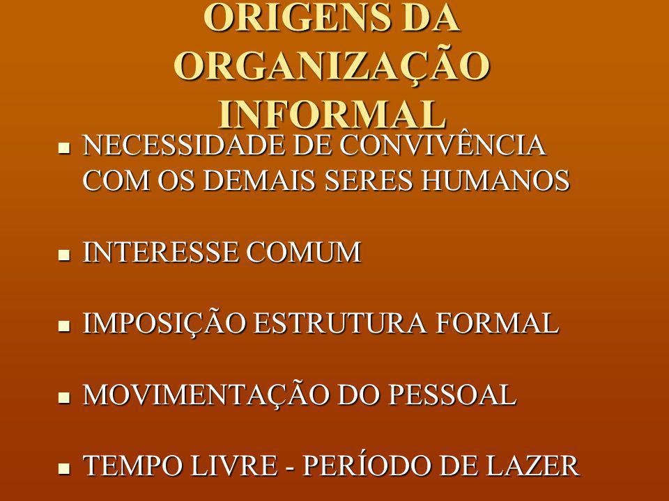 ORIGENS DA ORGANIZAÇÃO INFORMAL