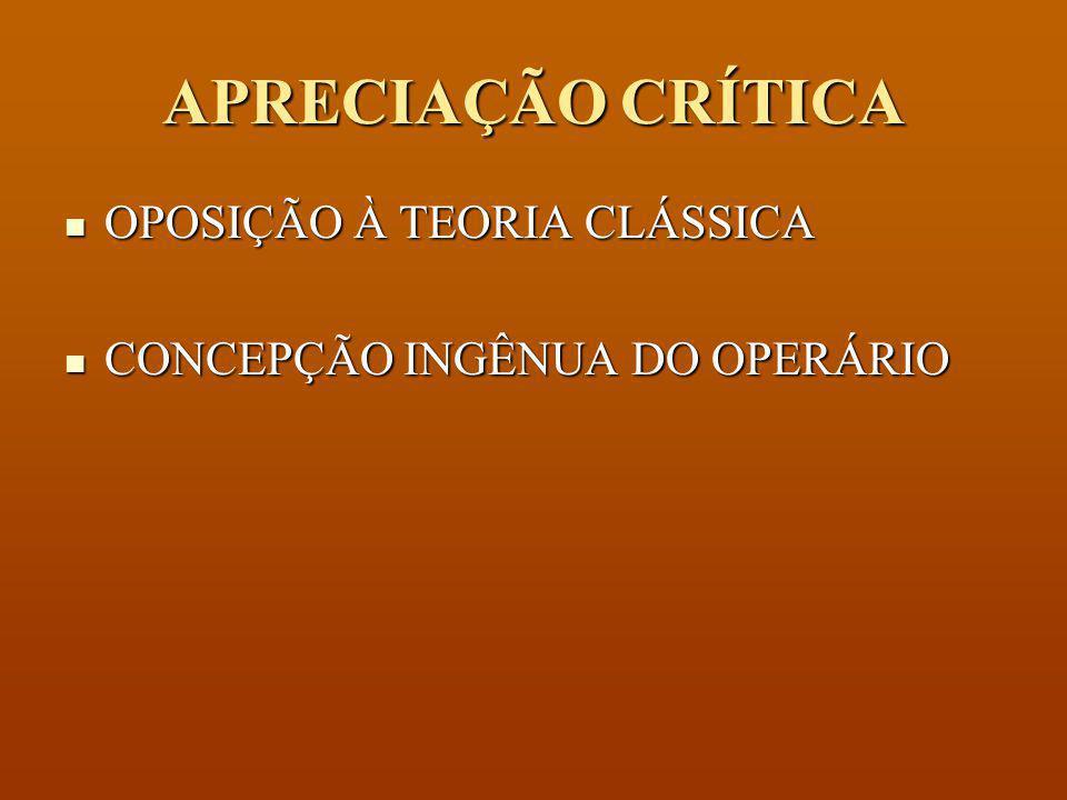 APRECIAÇÃO CRÍTICA OPOSIÇÃO À TEORIA CLÁSSICA