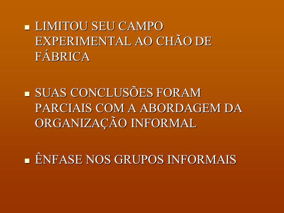 LIMITOU SEU CAMPO EXPERIMENTAL AO CHÃO DE FÁBRICA
