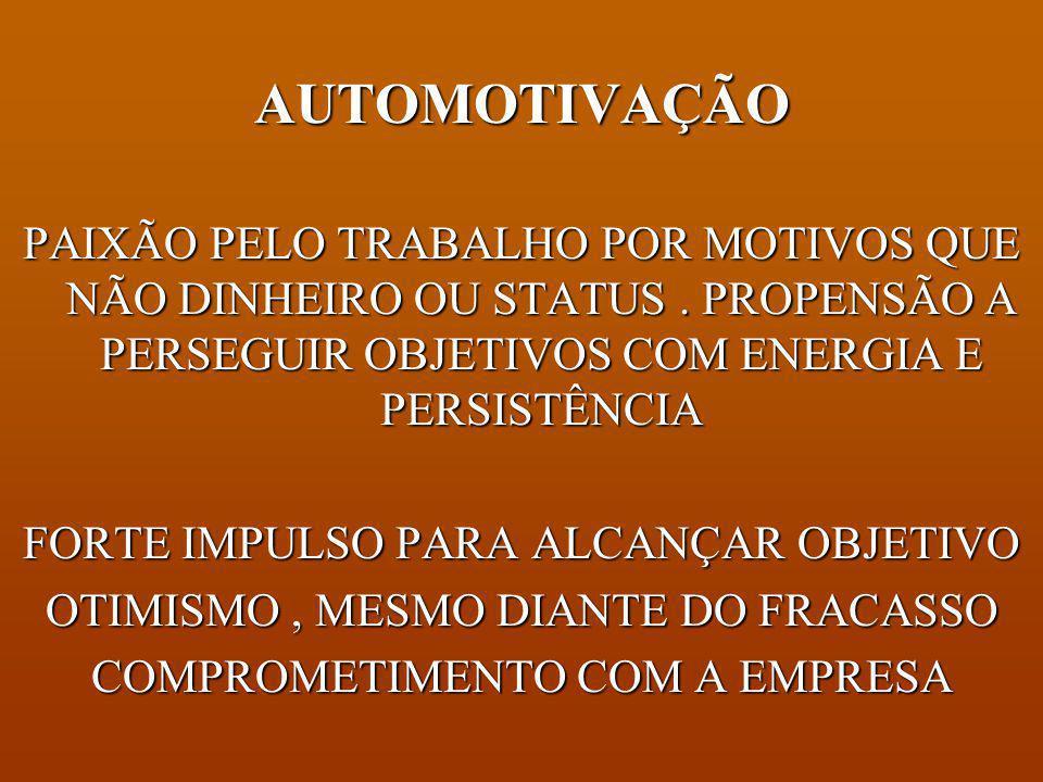 AUTOMOTIVAÇÃO PAIXÃO PELO TRABALHO POR MOTIVOS QUE NÃO DINHEIRO OU STATUS . PROPENSÃO A PERSEGUIR OBJETIVOS COM ENERGIA E PERSISTÊNCIA.
