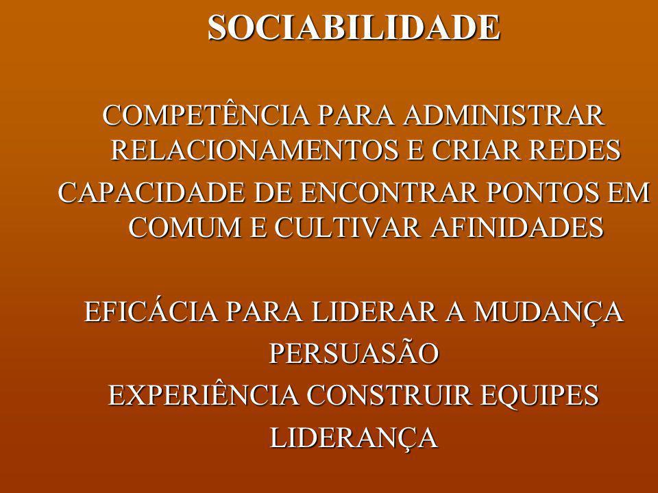 SOCIABILIDADE COMPETÊNCIA PARA ADMINISTRAR RELACIONAMENTOS E CRIAR REDES. CAPACIDADE DE ENCONTRAR PONTOS EM COMUM E CULTIVAR AFINIDADES.