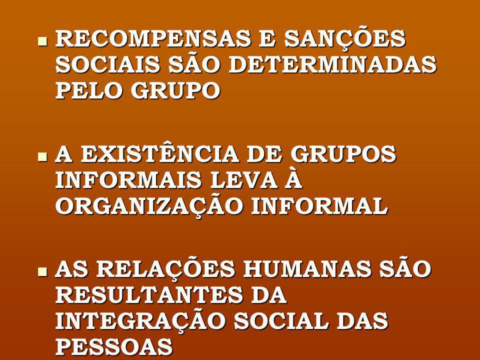 RECOMPENSAS E SANÇÕES SOCIAIS SÃO DETERMINADAS PELO GRUPO
