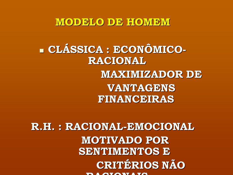 CLÁSSICA : ECONÔMICO-RACIONAL MAXIMIZADOR DE VANTAGENS FINANCEIRAS