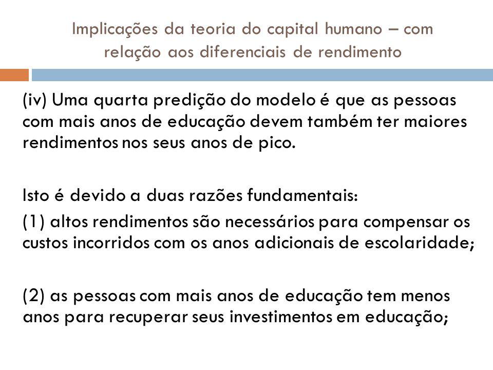 Implicações da teoria do capital humano – com relação aos diferenciais de rendimento