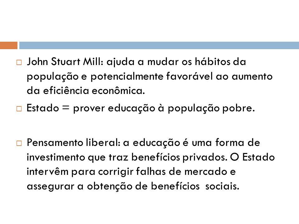 John Stuart Mill: ajuda a mudar os hábitos da população e potencialmente favorável ao aumento da eficiência econômica.