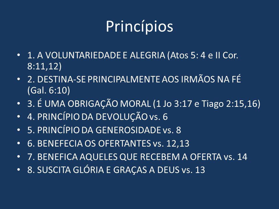 Princípios 1. A VOLUNTARIEDADE E ALEGRIA (Atos 5: 4 e II Cor. 8:11,12)