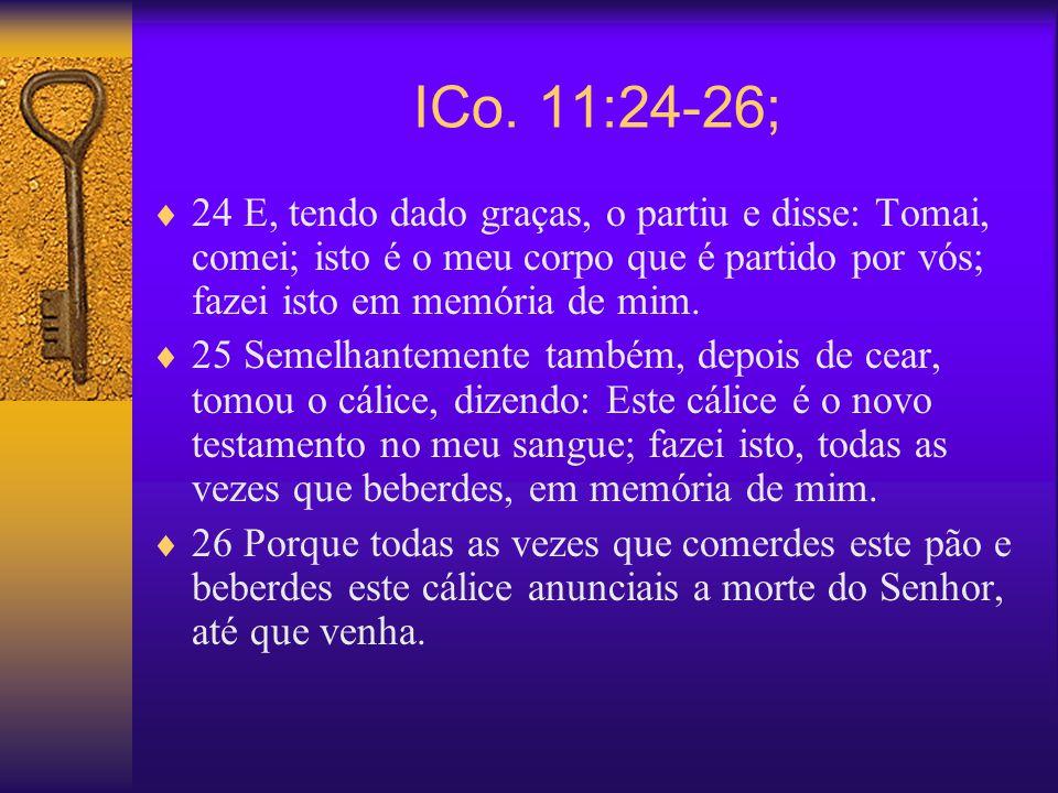ICo. 11:24-26; 24 E, tendo dado graças, o partiu e disse: Tomai, comei; isto é o meu corpo que é partido por vós; fazei isto em memória de mim.