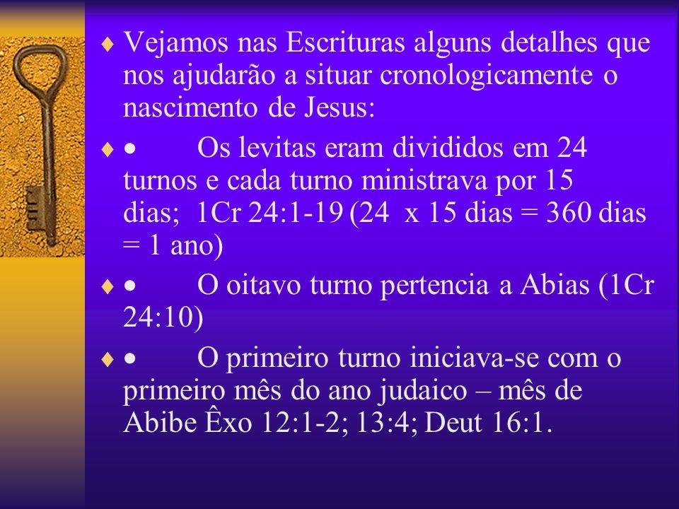 Vejamos nas Escrituras alguns detalhes que nos ajudarão a situar cronologicamente o nascimento de Jesus: