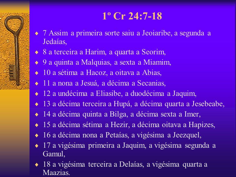 1º Cr 24:7-18 7 Assim a primeira sorte saiu a Jeoiaribe, a segunda a Jedaías, 8 a terceira a Harim, a quarta a Seorim,