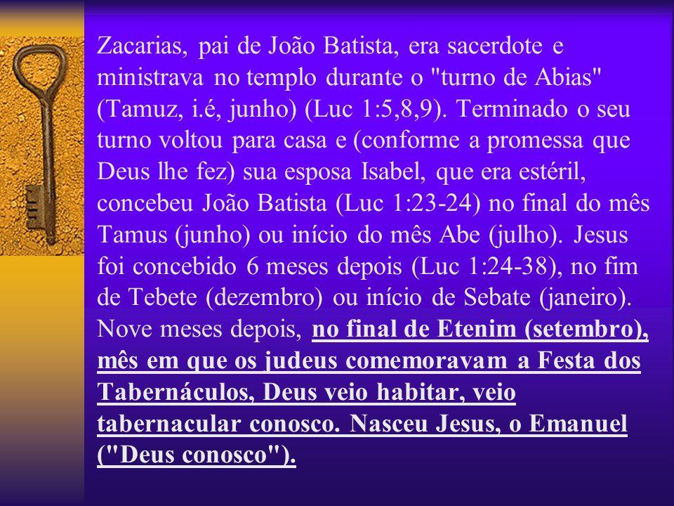 Zacarias, pai de João Batista, era sacerdote e ministrava no templo durante o turno de Abias (Tamuz, i.é, junho) (Luc 1:5,8,9).