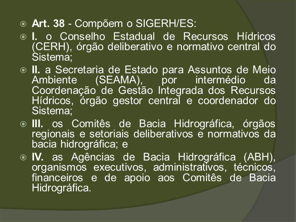 Art. 38 - Compõem o SIGERH/ES: