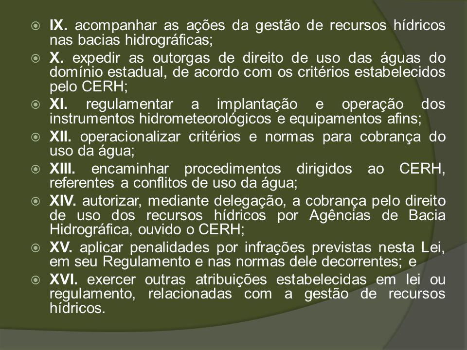 IX. acompanhar as ações da gestão de recursos hídricos nas bacias hidrográficas;