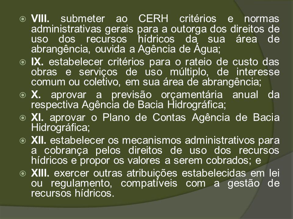 VIII. submeter ao CERH critérios e normas administrativas gerais para a outorga dos direitos de uso dos recursos hídricos da sua área de abrangência, ouvida a Agência de Água;