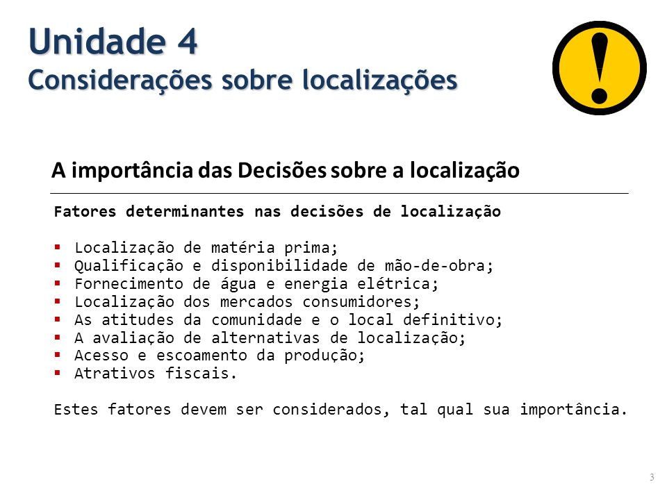 Unidade 4 Considerações sobre localizações
