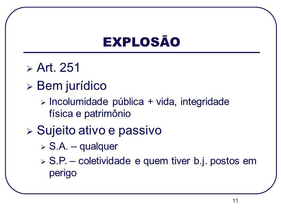 EXPLOSÃO Art. 251 Bem jurídico Sujeito ativo e passivo