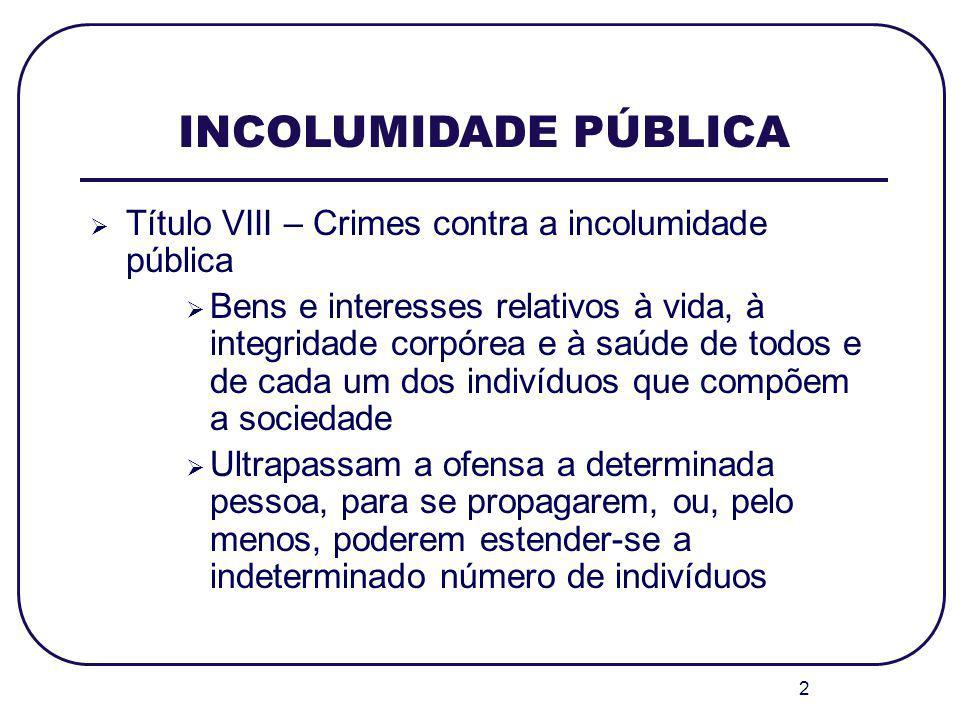 INCOLUMIDADE PÚBLICA Título VIII – Crimes contra a incolumidade pública.