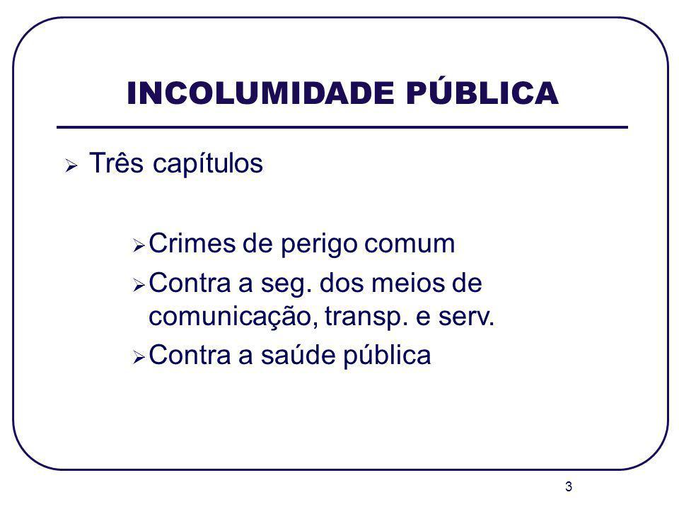 INCOLUMIDADE PÚBLICA Três capítulos Crimes de perigo comum