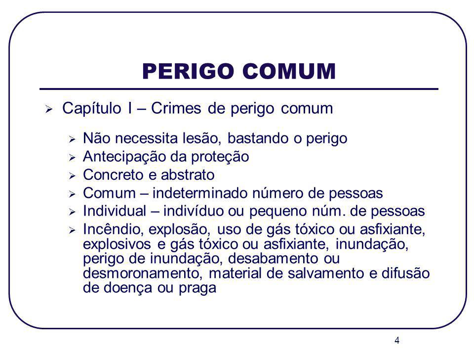PERIGO COMUM Capítulo I – Crimes de perigo comum