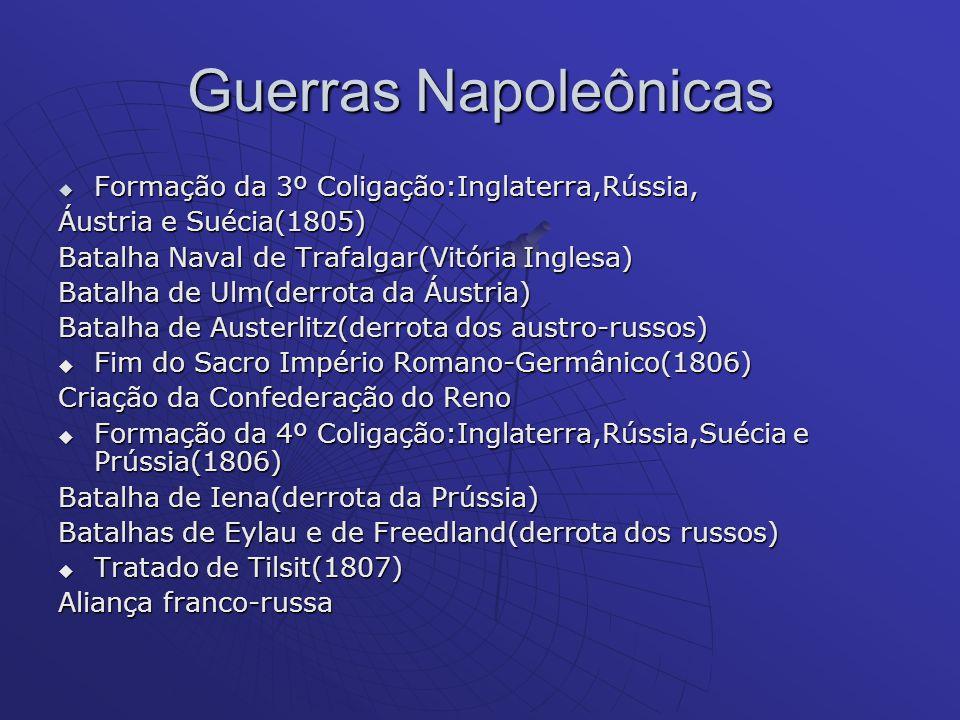 Guerras Napoleônicas Formação da 3º Coligação:Inglaterra,Rússia,