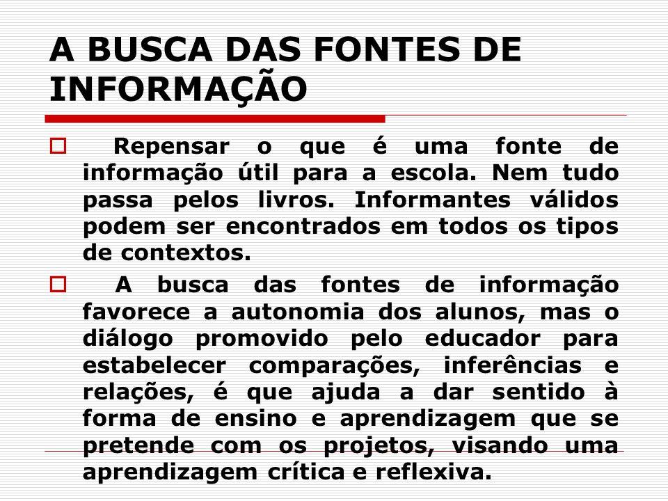 A BUSCA DAS FONTES DE INFORMAÇÃO