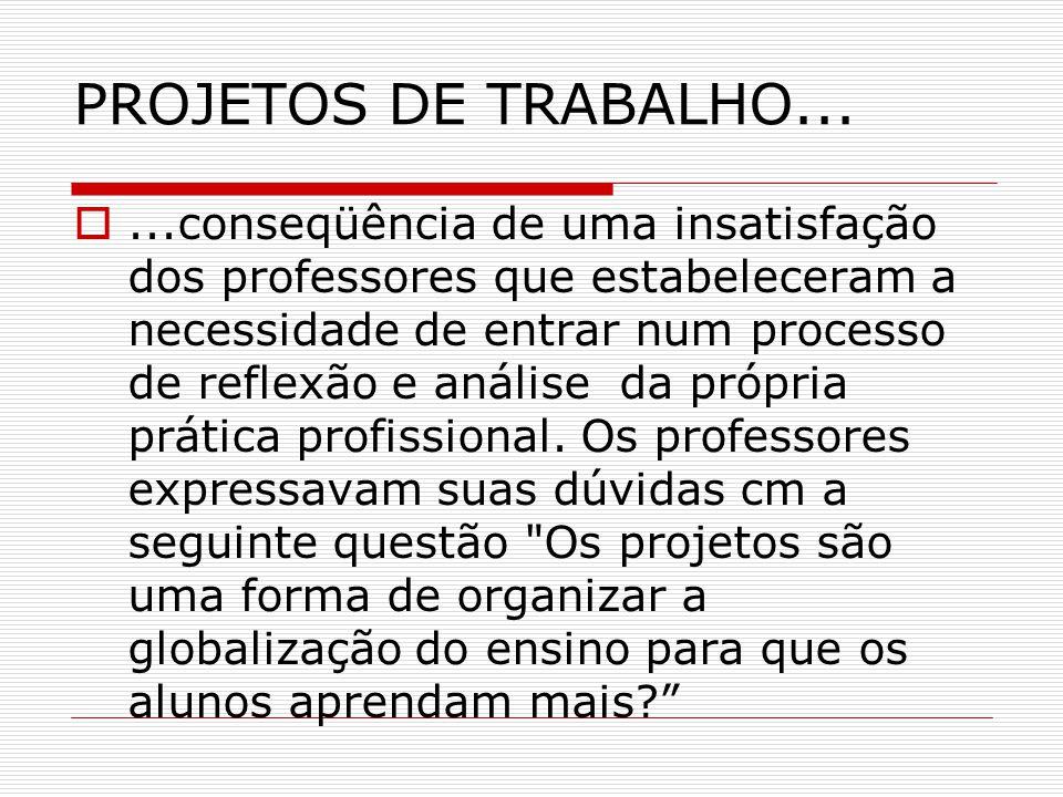 PROJETOS DE TRABALHO...