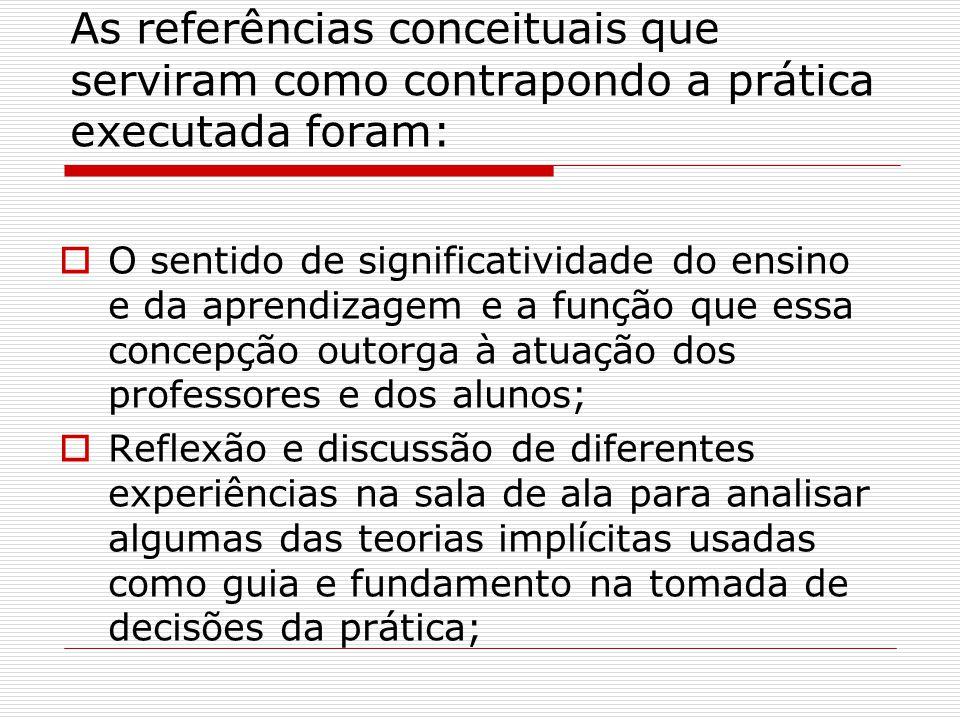 As referências conceituais que serviram como contrapondo a prática executada foram: