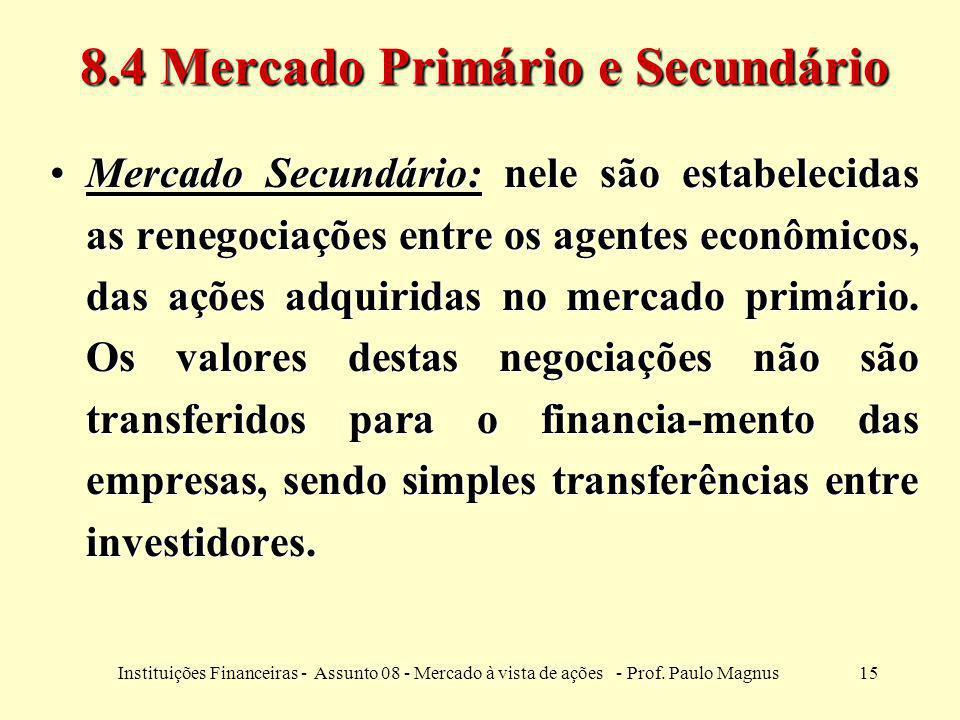8.4 Mercado Primário e Secundário