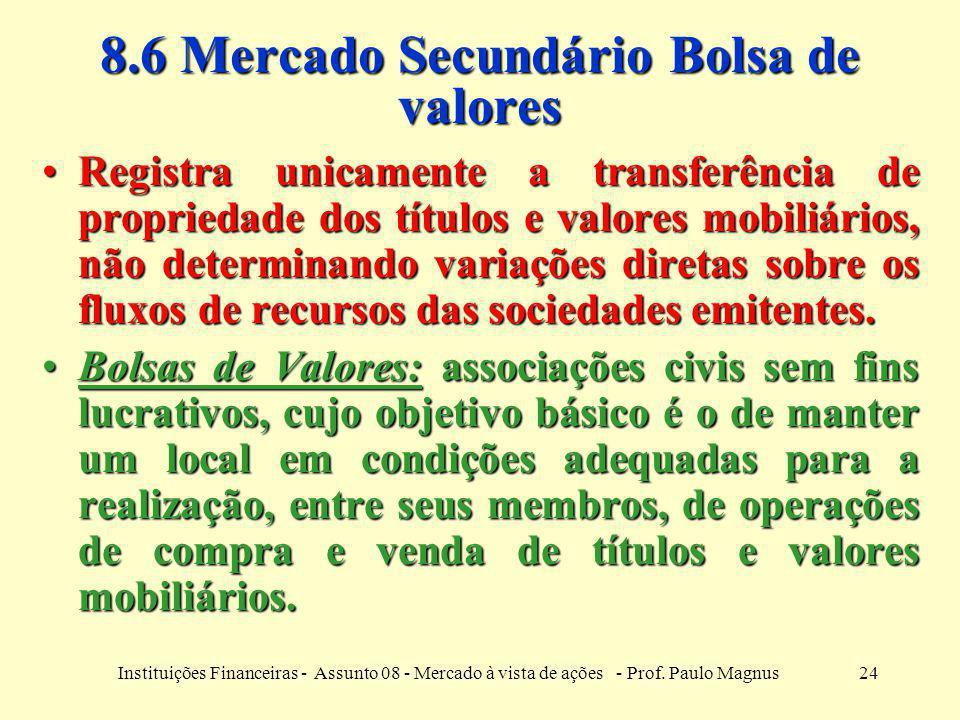 8.6 Mercado Secundário Bolsa de valores