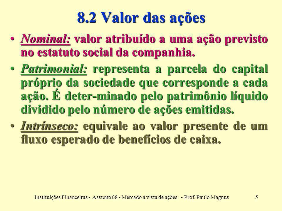 8.2 Valor das ações Nominal: valor atribuído a uma ação previsto no estatuto social da companhia.