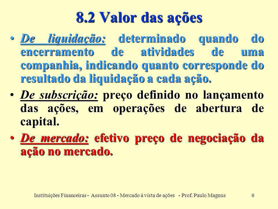 8.2 Valor das ações