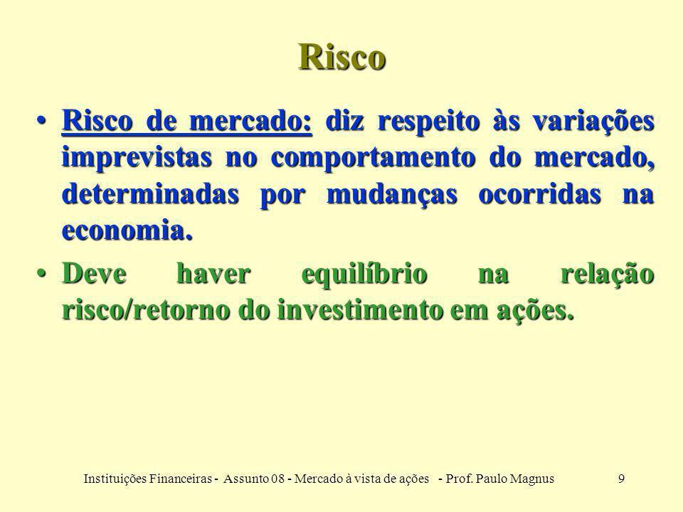 Risco Risco de mercado: diz respeito às variações imprevistas no comportamento do mercado, determinadas por mudanças ocorridas na economia.