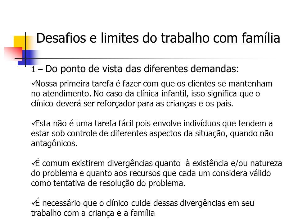 Desafios e limites do trabalho com família
