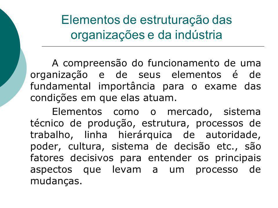 Elementos de estruturação das organizações e da indústria