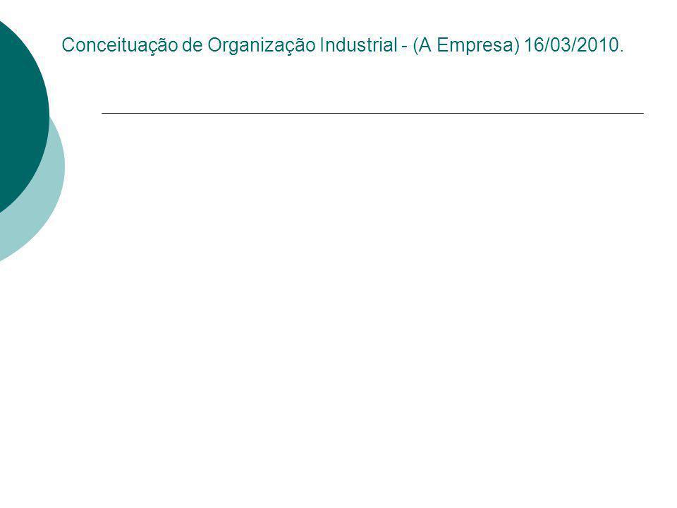 Conceituação de Organização Industrial - (A Empresa) 16/03/2010.