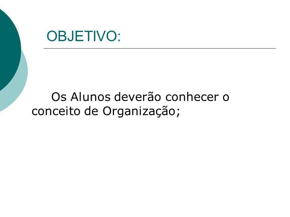 OBJETIVO: Os Alunos deverão conhecer o conceito de Organização;