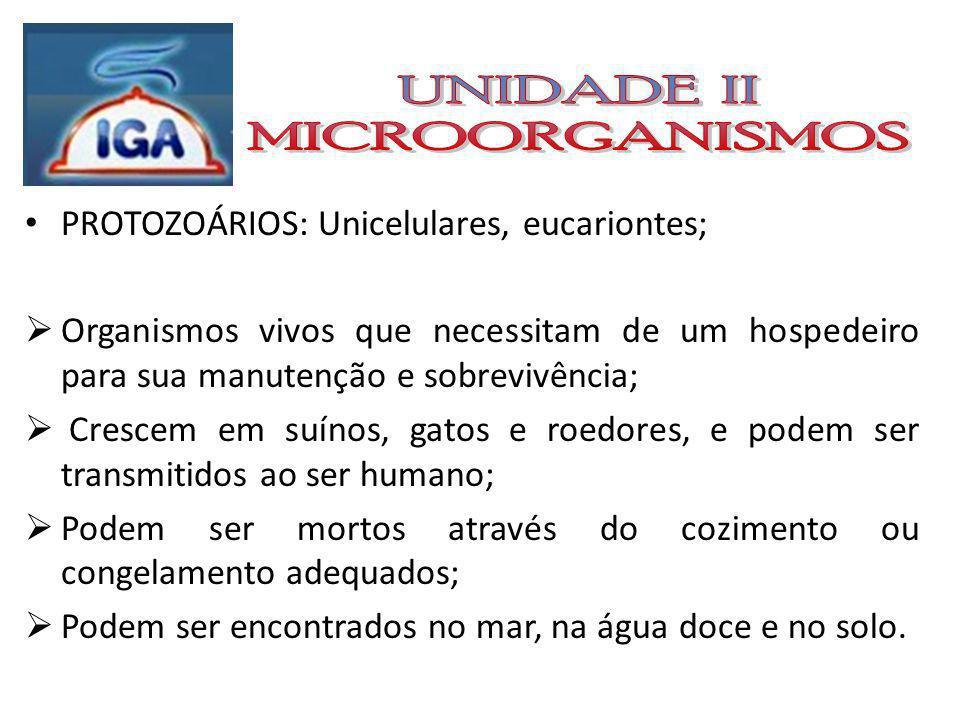 UNIDADE II MICROORGANISMOS PROTOZOÁRIOS: Unicelulares, eucariontes;