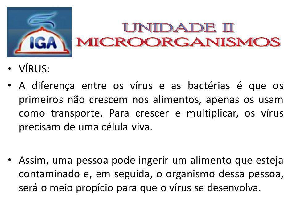 UNIDADE II MICROORGANISMOS VÍRUS:
