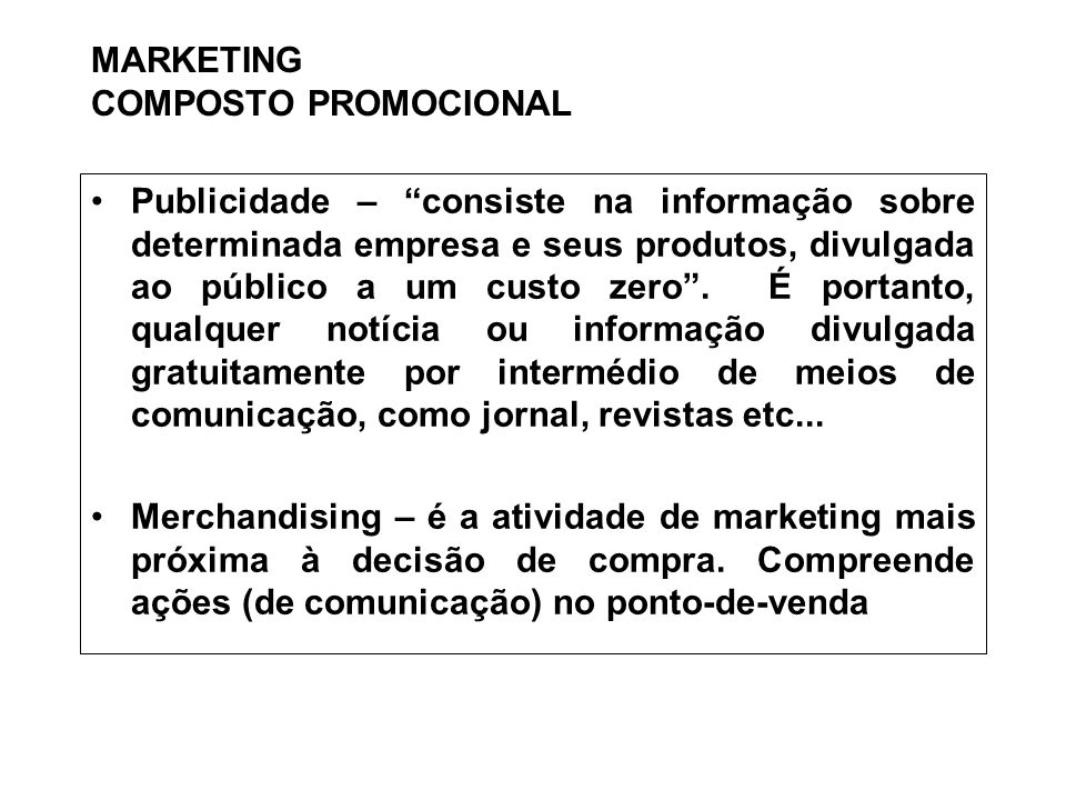 MARKETING COMPOSTO PROMOCIONAL