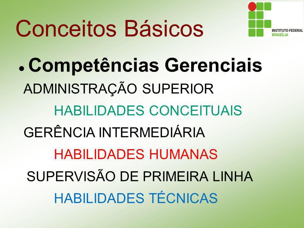 Conceitos Básicos Competências Gerenciais ADMINISTRAÇÃO SUPERIOR