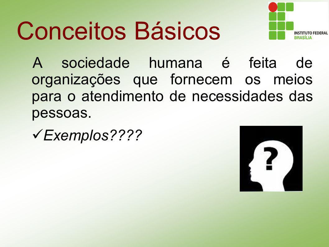 Conceitos Básicos A sociedade humana é feita de organizações que fornecem os meios para o atendimento de necessidades das pessoas.